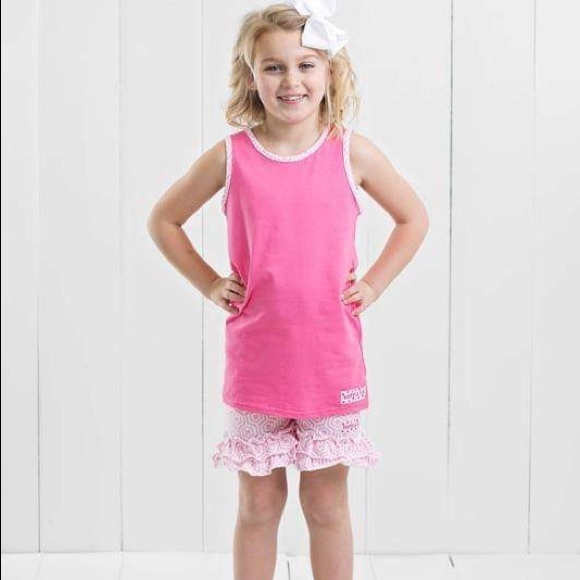 Ruffle Girl Other - Ruffle Girl Pink Tank & Honeycomb Short Set